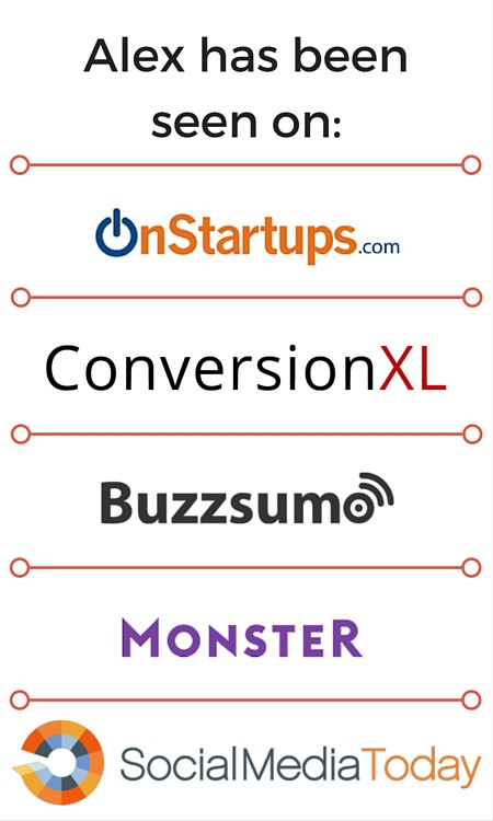 Alex chaidaroglou seen on onstartups, conversionxl, buzzsumo, monster, social media today, relevance, yahoo!