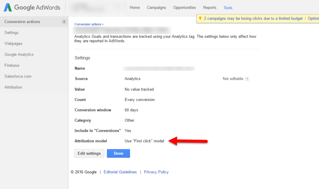 adwords conversion tracking first click attribution model
